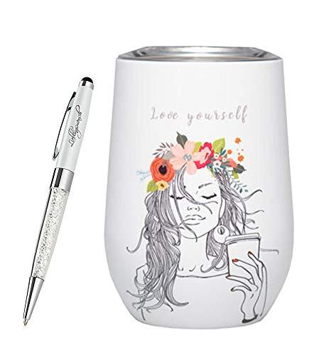 chicmic bioloco Office Trink-Becher | Kaffee-Becher mit Doppelwand-Isolierung | 3H warm | inkl. Lieblingsmensch Kugelschreiber, Größe:420 ml, Farbe:Love Yourself