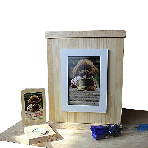 Massief hout huisdier as opbergdoos, dode katten en honden nostalgische opbergdoos, huisdier Memorial Box met kleine kaars houder, kan zetten huisdier foto's