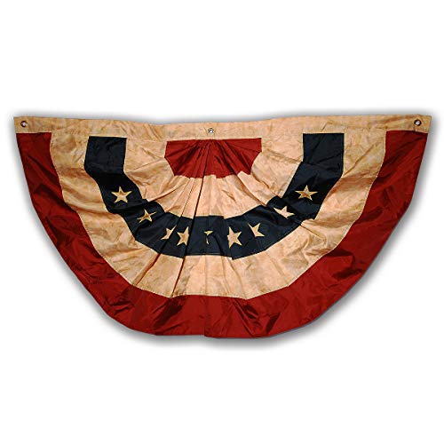 Morigins 48x25 Inch Tea Stained Antique US American Flag Bunting Half Fan Fully Pleated