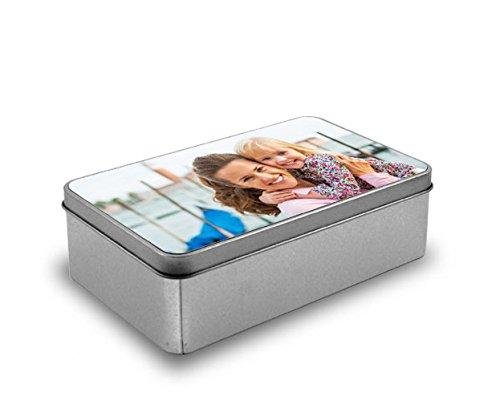 Cajas metálica Personalizada con Fotos y Texto - Forma Rectangular: Amazon.es: Hogar