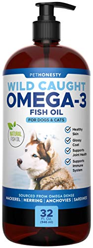 PetHonesty 100% Natural Omega-3 Fish Oil for Dogs from Iceland- Omega-3 for Dogs- Pet Liquid Food Supplement- EPA+DHA Fatty Acids Reduce Shedding & Itching- Supports Joints, Brain & Heart Health -32oz