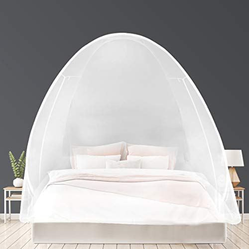 EVEN NATURALS Luxury Pop Up Mosquito Net Tent, Large: for Twin to King Size Bed, Extra Fine Holes, Canopy with Lace,...