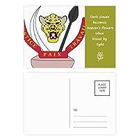 コンゴ川国家エンブレムの国 詩のポストカードセットサンクスカード郵送側20個