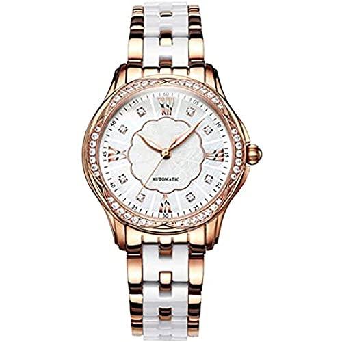 CAMO Relojes para Mujer Reloj Elegante para Mujer con Diseño Delgado en Oro Rosa y Esfera de Cerámica Blanca con Brazalete de Acero,A