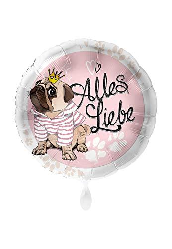 Premioloon Folienballon Herzform Rund XXL Verschiedene Anlässe ungefüllt Ballongas geeignet Motiv Mops Alles Liebe Ø 45cm
