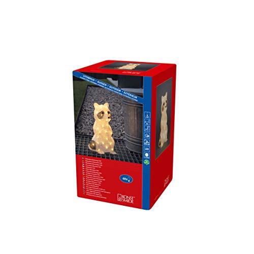 Konstsmide, 6296-103, LED Acrylwaschbär, stehend, klar,24V, Aussen (IP44), 48 warm weiße Dioden, weißes Kabel