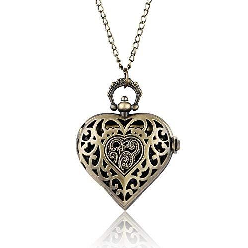 HYLK Reloj de Bolsillo Hermoso Colgante en Forma de corazón para Mujer, Novia, Novia, Esposa, Collar, Reloj de Bolsillo de Cuarzo (Color: Bronce)