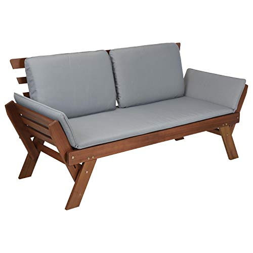 idooka Acacia Wood Garden Sofa Day Bed - Grey Outdoor Cushions for Sofa Set with Adjustable Arms - FSC 100% Hardwood Patio/Conservatory/Summer House Bench Wooden Sun Lounger