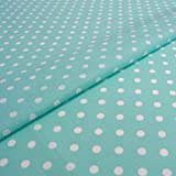 Hans-Textil-Shop Stoff Meterware Punkte 7 mm Weiß auf Mint