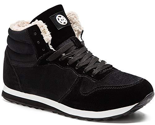 Gaatpot Zapatos Invierno Botas Forradas de Nieve Zapatillas Sneaker Botines Planas para Hombres Mujer Negro EU 39 = CN 40