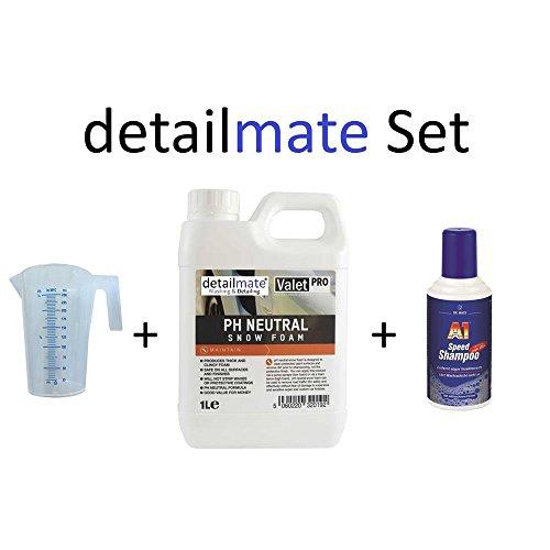 Set ValetPRO ph Neutral Snow foam 1 Liter + 250ml Messbecher detailmate + A1 Speed Shampoo Dr. Wack 500 ml Autoshampoo für Autowäsche
