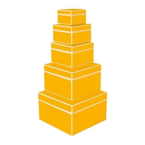 Semikolon (352050) 5er Schachtelsatz in verschiedenen Größen sun (gelb) - Ideal als Geschenkboxen, Geschenkschachteln, Aufbewahrungsboxen