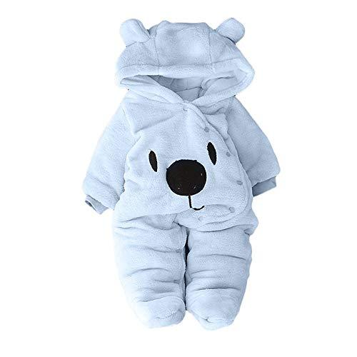 Proumy ◕ˇ∀ˇ◕ Baby Kleidung Jungen Mädchen Schneeanzüge Winter Fleece Overall mit Kapuze Mädchen Jungen Strampler Jumpsuit Strampler Overall (Hellblau,9-12Months)