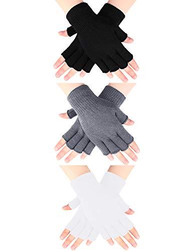 SATINIOR 3 Paar Halbfinger Handschuhe Winter Fingerlose Handschuhe Strick Handschuhe für Männer Frauen (Schwarz, Hellgrau, Weiß)