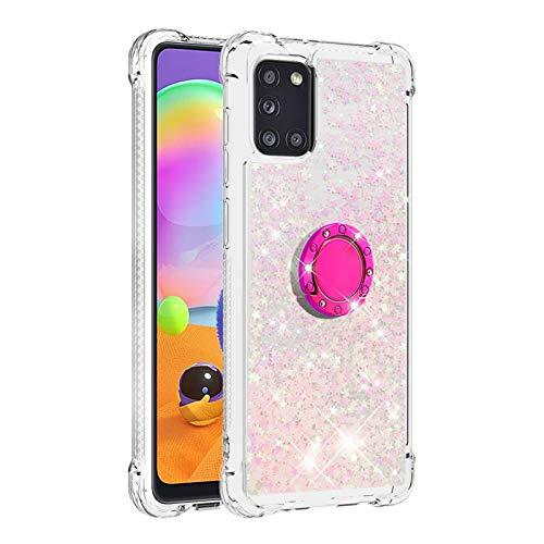 Hülle für Samsung Galaxy A31 Diamant Ring Flüssig Treibsand Silikon TPU Bumper Hülle für Samsung Galaxy A31(Fluoreszierende rosa Sterne)