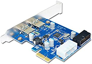BGNing Tarjeta de expansión PCIe USB 3.0 External 2 Puertos USB3.0 + 2 Internal 19Pin Header 4Pin IDE Power Connector para PCI-E x1 x 4 x8 x 16