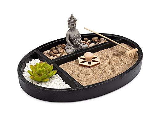 AsanaLiving Desktop Zen Sand Garden with Concrete Base, Meditating Buddha Statue, Bamboo Rake, Stamp and Faux Lotus Plant