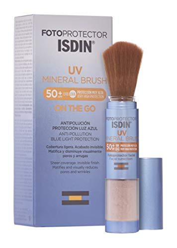 Isdin Fotoprotector UV Mineral Brush SPF 50+, Protector Solar Facial de Uso Diario on the Go, Activos Antipolución, Matificante, Acabado Invisible, 2 g