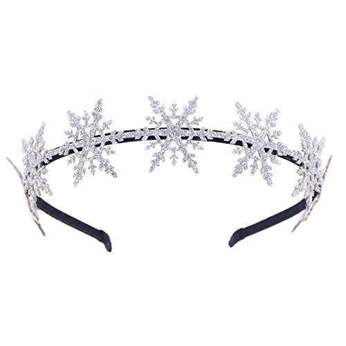 Beaupretty Haarband mit Schneeflocke, Weihnachts-Glitzer, Haarschmuck für Mädchen, silberfarben