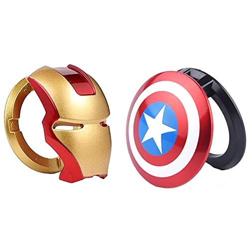 Car Engine Start Stop Button Cover,Black Panther and Iron Man Decorative Ring Push Start Button Ignition Protective Cover Universal Button Anti Scratch Decorative Stickers 2packs (1)