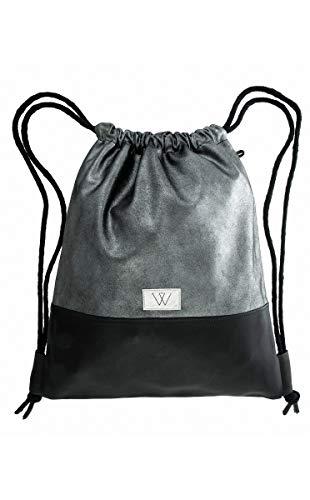 Wunleder gymtas lederen rugzak zilver/donker van 100% echt leer, zilver, metallic, zwart