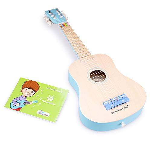 New Classic Toys - 10301 - Musikinstrument - Spielzeug Holzgitarre - Natur/Blau