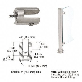 CRL SA50BS Brushed Stainless Fixed Glass Fitting for 1' Tubing