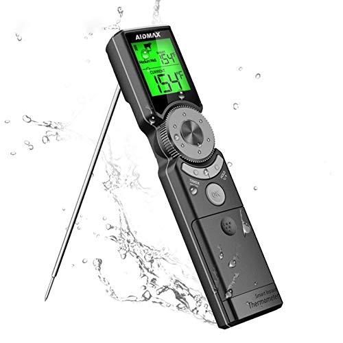 WXFXBKJ BBQ Lecture instantanée numérique de Cuisine électronique étanche Grille de Cuisson thermomètre à Viande for Four LCD rétro-éclairé Ecran BBQ Thermomètre (Color : Gray)
