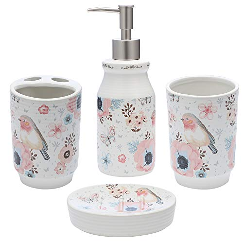 JOTOM Ceramic Bath Accessory Set,Luxury Bathroom Accessories Set - 4 Pieces with Decorative Hand Sanitizer Bottle,Toothbrush Cup,Toothbrush Holder,Soap Dish (Flower and Birds)