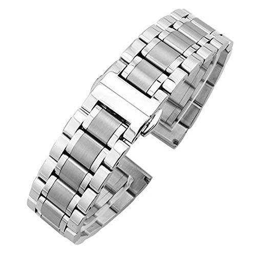 YUNLILI Elegante Reloj Correa 18mm - Reloj de Metal de 24 mm brazaletes de Banda de Mujer de Moda de Plata de Plata de Acero Inoxidable de Acero Inoxidable Accesorios de Correa