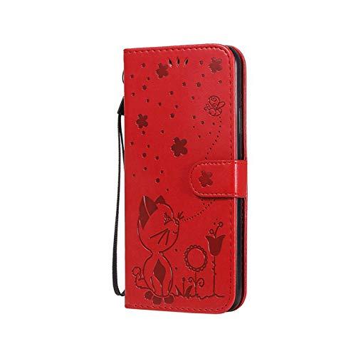 Henraly - Funda de piel con tapa para Huawei P40 P30 P20 Mate 20 30 10 Lite Pro P Smart Plus Y7 Y6 Y9 2019 2020 Y5P Y6P Nova 3E 7 Pro-Red-Y7 Prime 2018