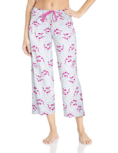 HUE Women's Plus Size Printed Knit Capri Pajama Sleep Pant, White - Flamingals, 3X