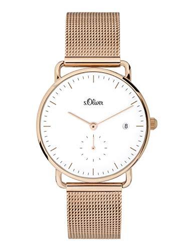 s.Oliver Damen Analog Quarz Uhr mit massives Edelstahl Armband SO-3715-MQ