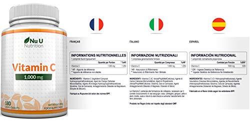 Vitamin C 1000mg 180 Tabletten (6 Monatsversorgung) von Nu U Nutrition - 5