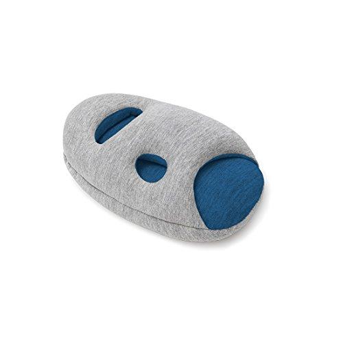 Ostrichpillow Mini Almohada de viaje para aviones, coche, oficina, soporte de cuello para volar, Almohada de cuello para siestas. Accesorio de viaje para Hombre y Mujer - Color Gris - Midnight Grey