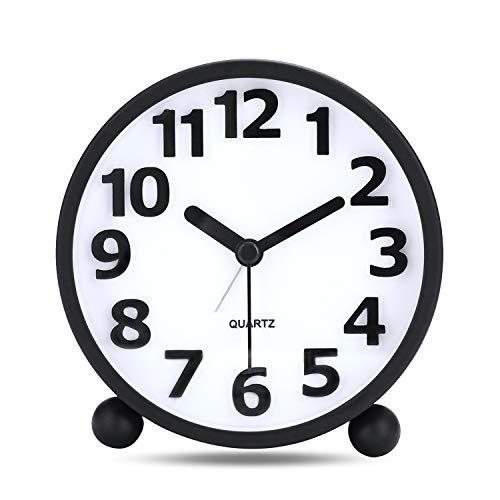 Lafocuse 10.5 cm Despertador Negro Analógico Metal Numeros Grandes 3D con luz Nocturna Silencioso Reloj de Mesa Moderno para Mesilla Dormitorio