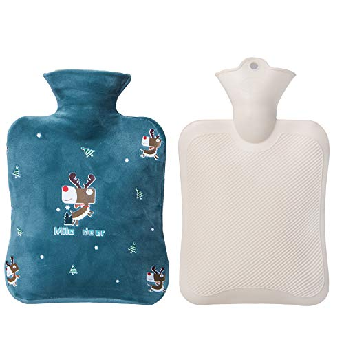 Small Hot Water Bottle, 1 Liter Water Bag with Cute Fleece Cover, Gifts for Women and Men, Dark Green Deer