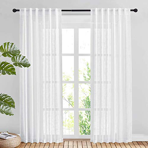 """NICETOWN White Linen Sheer Curtains and Drapes 84 inches Long, Rod Pocket & Back Tab semitransparent with Light Through Vertical Window Treatments for Sliding Glass Door & Living Room, 52""""W, Set of 2"""