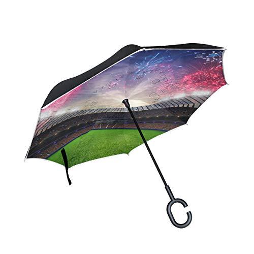 Orediy Umkehrbarer Regenschirm, Feuerwerk im Stadion, doppelschichtig, Auto-Rückwärtsschirm, großer Outdoor-Regenschirm, UV-Schutz, Winddicht, Regen, Sonne, Reise-Regenschirm
