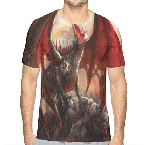 Heren 3D Printed T Shirts,Majestic Dragon rusten op berg Mythologische Vuurspringen Creature Print
