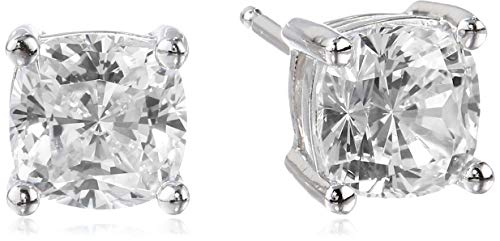 Platinum Plated Sterling Silver Cushion Cut Cubic Zirconia Stud Earrings 6mm