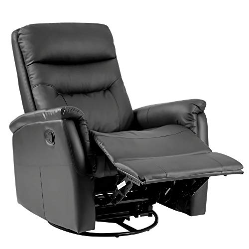 360° SWIVEL LUXURY BONDED LEATHER RECLINER SOFA CHAIR RECLINING CHAIR ARMCHAIR CINEMA ROCKING GAMING CHAIR LOUNGE CHAIR