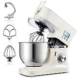 Hauswirt Küchenmaschine, Rührmaschine mit LCD Bilderschirm, Knetmaschine Teigmaschine mit Planetarisches Rührsystem, 8 Geschwindigkeit, 5L Edelstahlschüssel, Schneebesen, Teighaken, Beater, Milchig