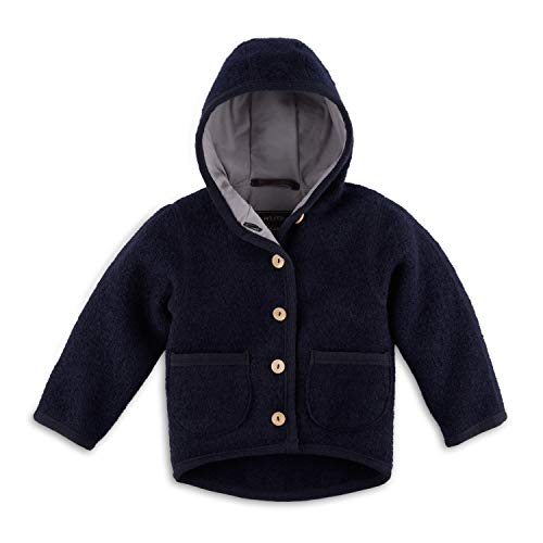 Halfen Walkjacke Kinder (Made in Germany) – Bio Wollwalk Jacke für Mädchen und Jungen mit Kapuze, aus 100% Natur Schurwolle, Wolljacke Baby für Jede Jahreszeit, temperaturregulierend, Größe: 98 104