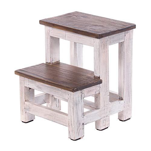 DESIGN DELIGHTS TRITTLEITER Step | 46x37x37 cm (HxBxT), Recycling Holz, zweistufig | Trittleiter, Haushaltstritt | Farbe: 05 weiß-Natur