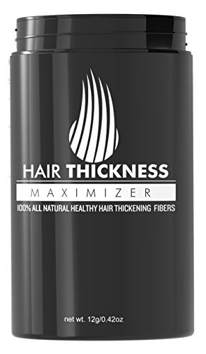 Hair Thickness Maximizer - Safer Than Keratin Hair Building Fibers With 2nd Gen All Natural Plant Based Hair Loss Concealing Fillers For Instant Thickening of Thinning or Balding Hair (Dark Brown)
