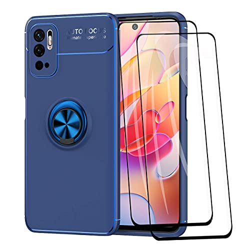 WEIOU Funda para Xiaomi Redmi Note 10 5G | Poco M3 Pro 5G + 2 Cristal Templado, TPU Silicona Bumper Protección Carcasa Caso Case con Shock- Absorción y 360° Anillo Kickstand, Azul+Azul