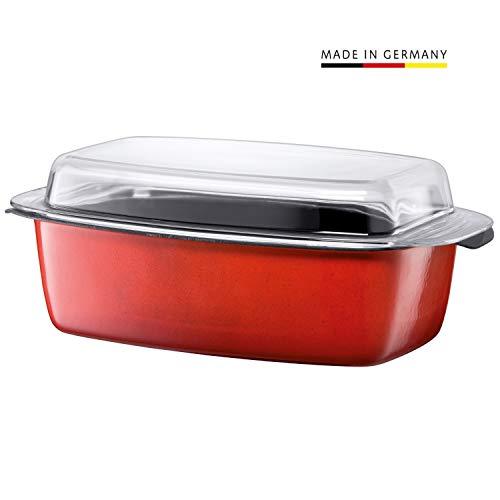 Silit, Passion Orange, pan, glazen deksel, Silargan keramische inductie, vaatwasmachinebestendig, ovenbestendig, 39 x 22 x 15 cm, 5,3 l