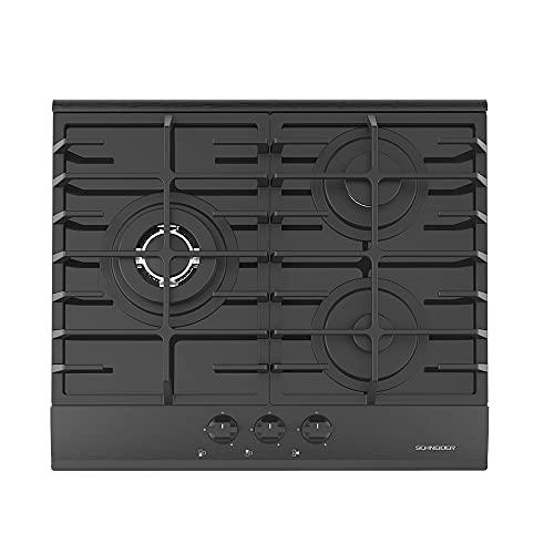 Schneider SCTG6031N3L Placa de Gas Butano, 3 fuegos, 60 cm, Mandos Frontales, Parrilla de Hierro Fundido, Acabado en Cristal Templado Negro