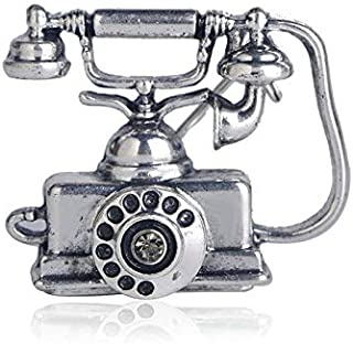 Crystal Enamel Brooch Antique Landline Wired Telephone Shape Brooches for Women Vintage Souvenirs Gift Clothes Decoration